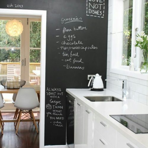 Galley Kitchen with Chalk Board Wall