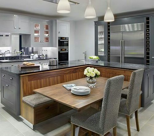 Integrated kitchen island and seating area