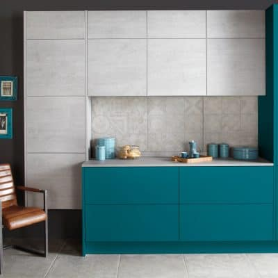 Otto Laminate in bespoke painted and concrete