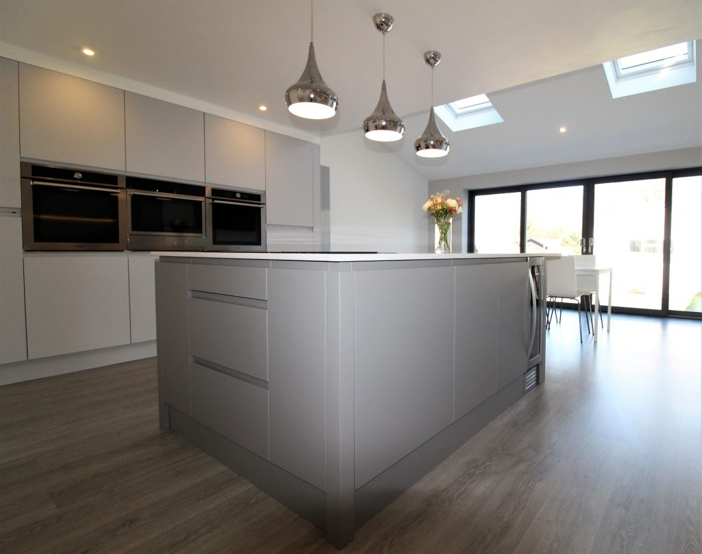 Contemporary Kitchen in Light and Dark Matt Grey - Noble Kitchens, Coventry and Warwickshire