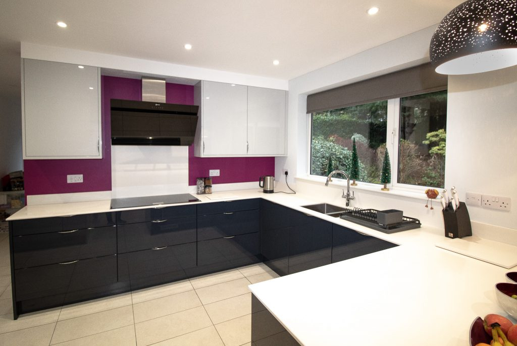 Gloss Kitchen in Light Grey and Carbon, Supplied and Installed by Noble Kitchens, Coventry and Warwickshire