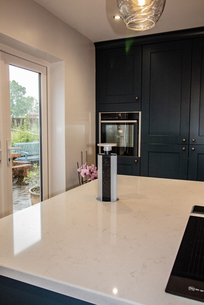 Monarch Oak shaker kitchen in Deep Ocean, designed, supplied and installed by Noble Kitchens, Coventry and Warwickshire