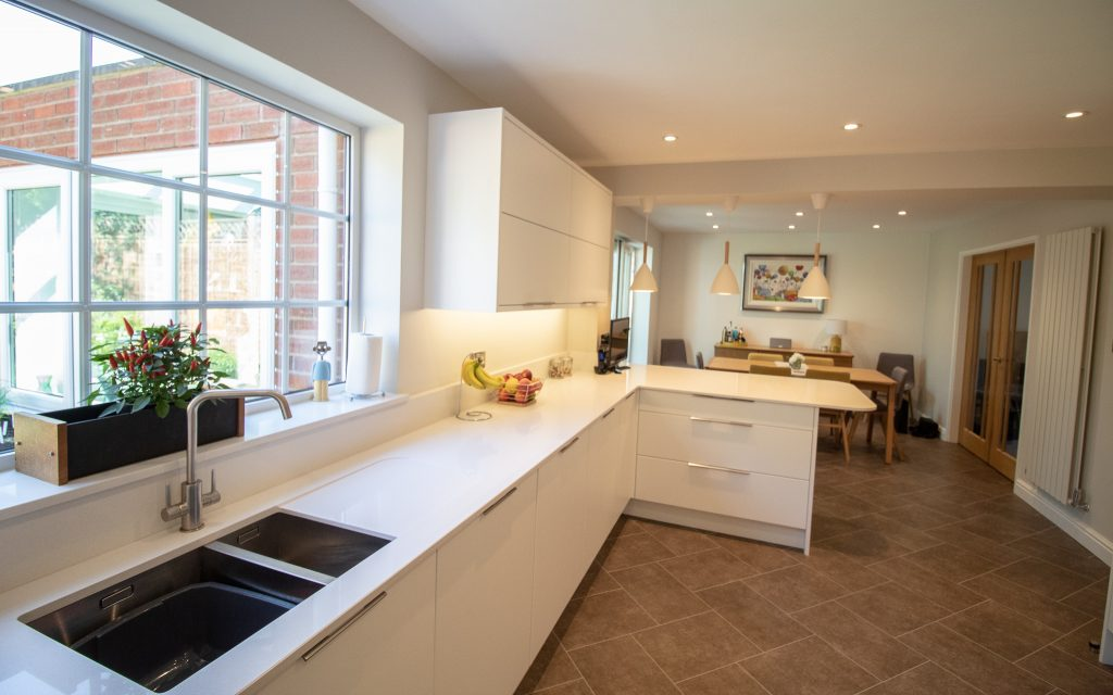 Matt white Otto doors by Burbidge, designed, supplied and installed by Noble Kitchens, Coventry and Warwickshire