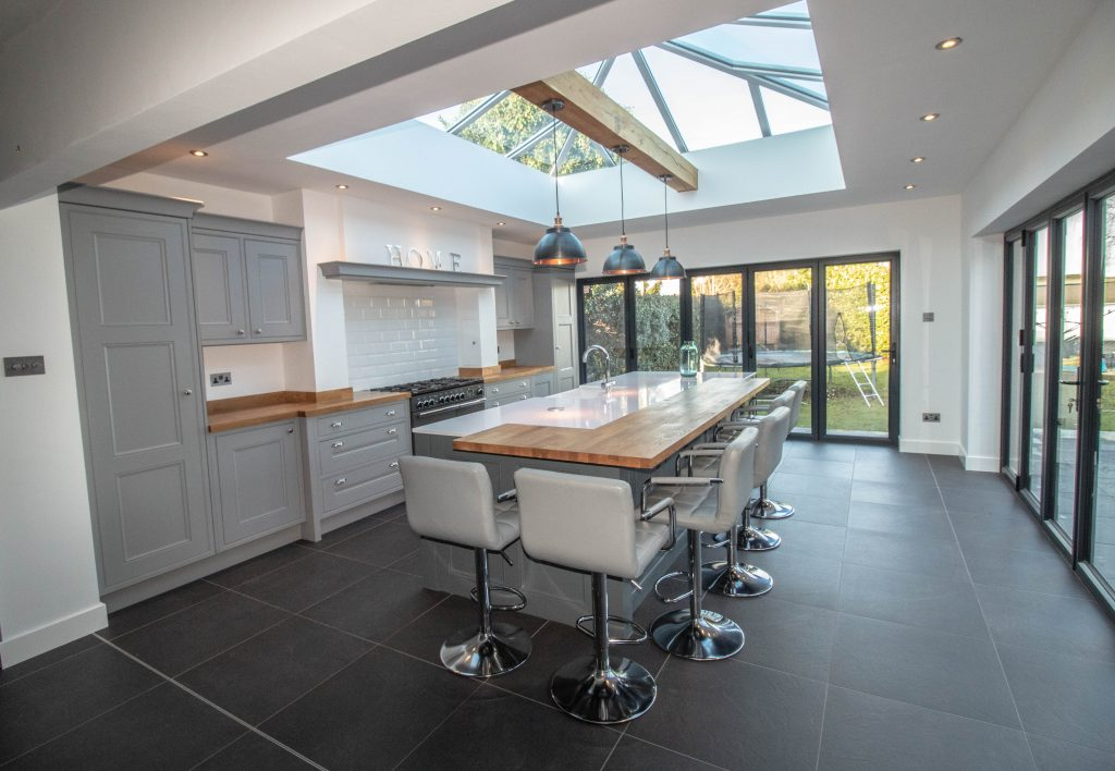 In-frame Kitchen painted in Lead, Supplied and installed by Noble Kitchens