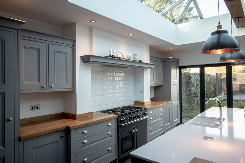 n-frame Kitchen painted in Lead, Supplied and installed by Noble Kitchens